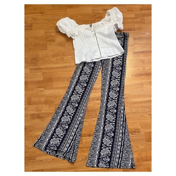 Pants - Boho Navy & White Printed Flare Pants